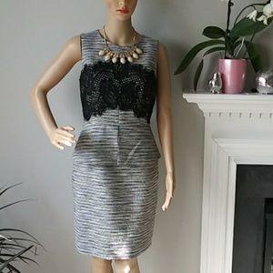 Antonio Melani midi career dress w/lace black/gray